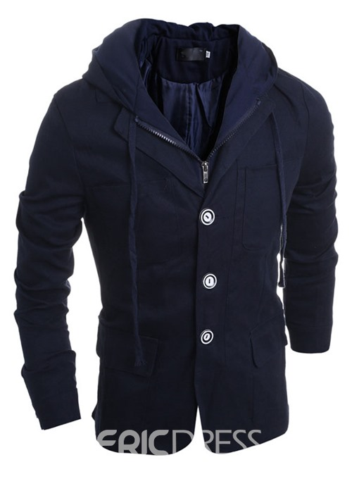 Ericdress Solid Color Zip and Buttons Double-Layer Hooded Men's Jacket