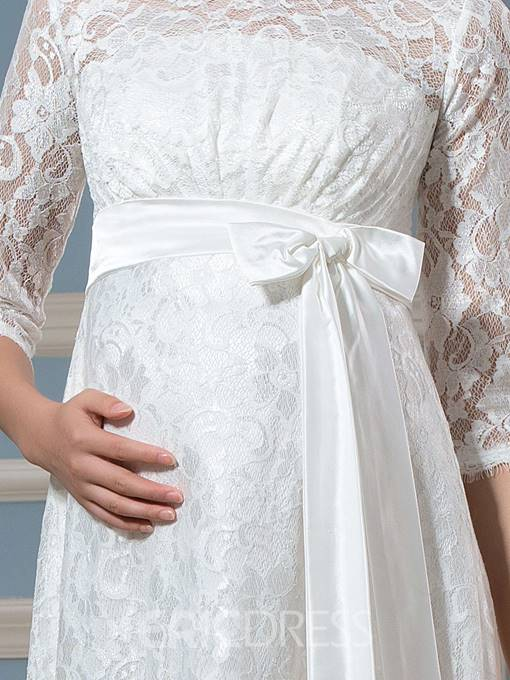 Ericdress Pretty A Line Knee Length Lace Maternity Wedding Dress