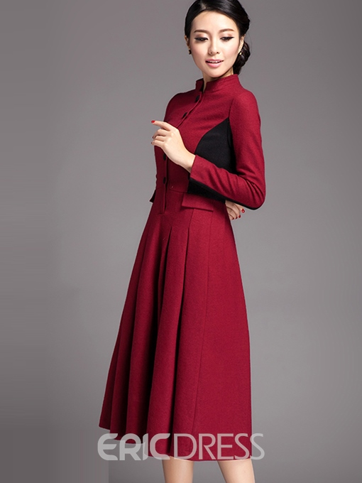 Ericdress Patchwork Stand Collar Single-Breasted Wool Blends Maxi Dress