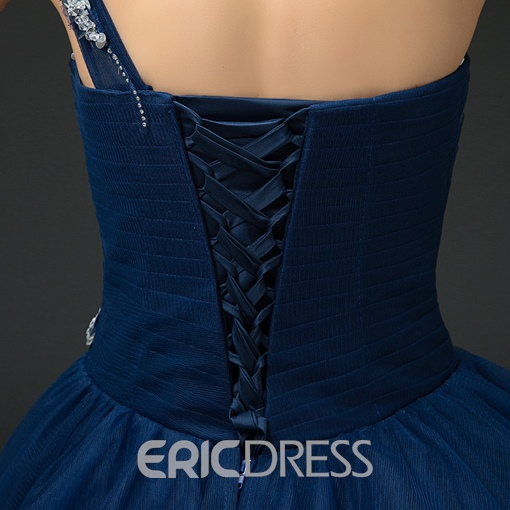 Ericdress One Shoulder Sequins Lace-Up Ball Gown Quinceanera Dress