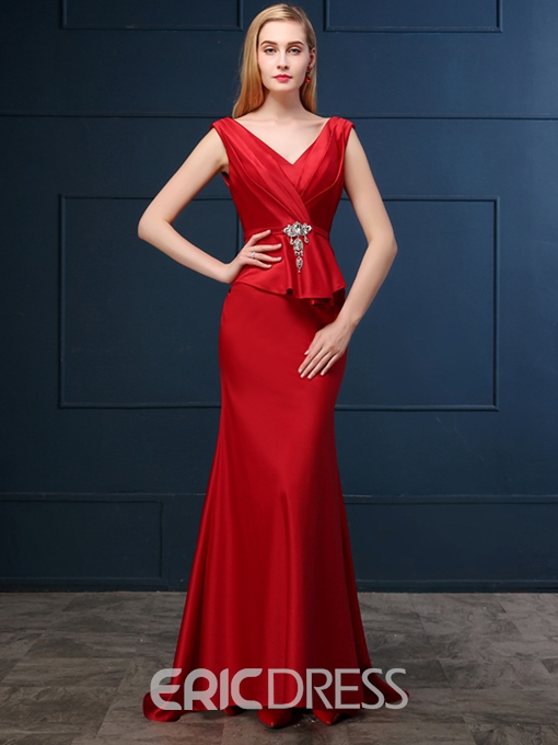 Ericdress Elegant Sheath V Neck Deep Back Floor Length Evening Dress