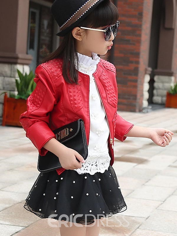 Ericdress Plain PU Zipper Girls Outerwear