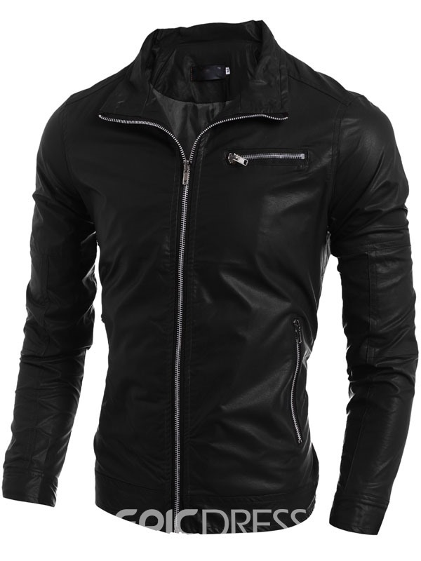 Ericdress Solid Color Zip Slim Men's PU Jacket