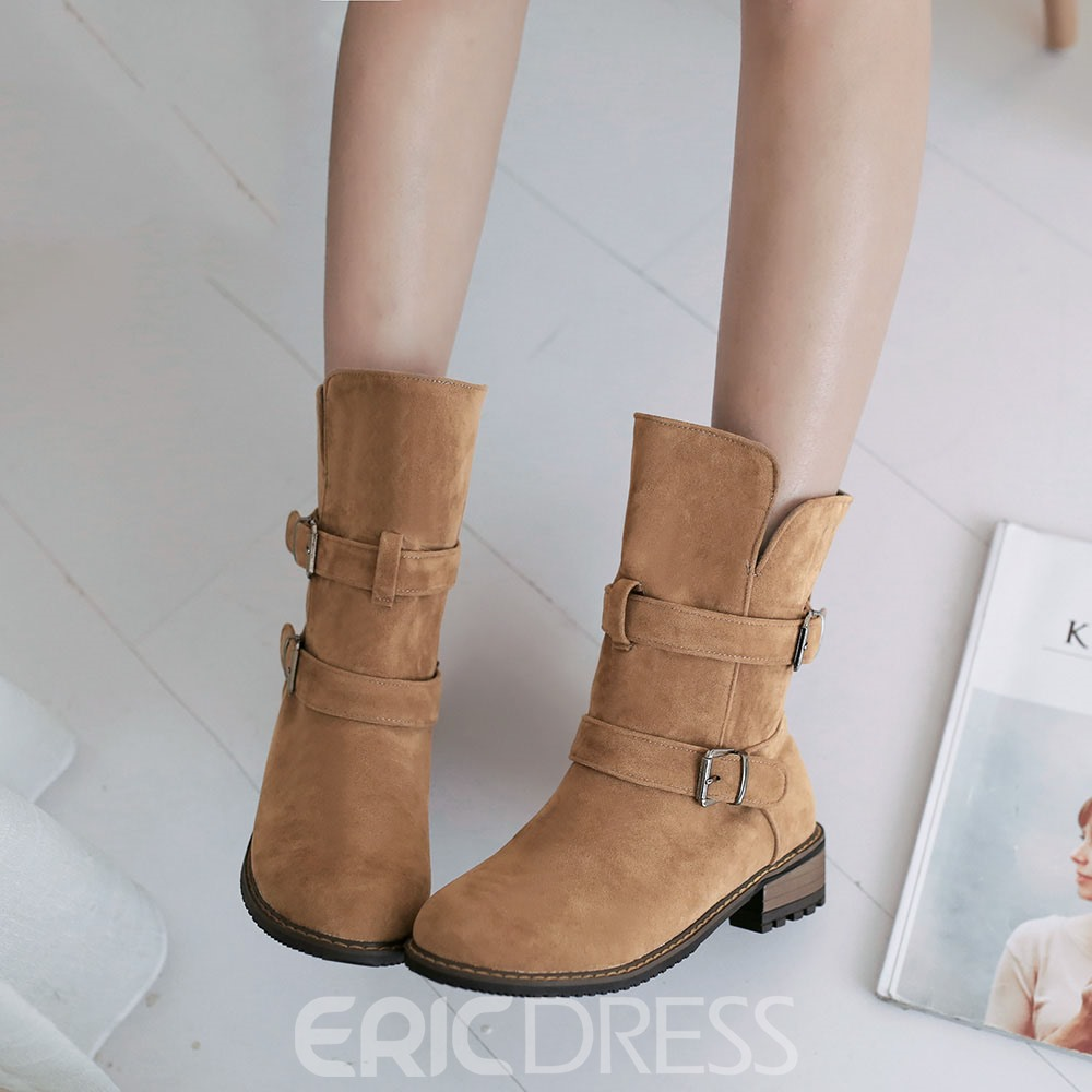Ericdress Stylish Buckles Decoration Ankle Boots