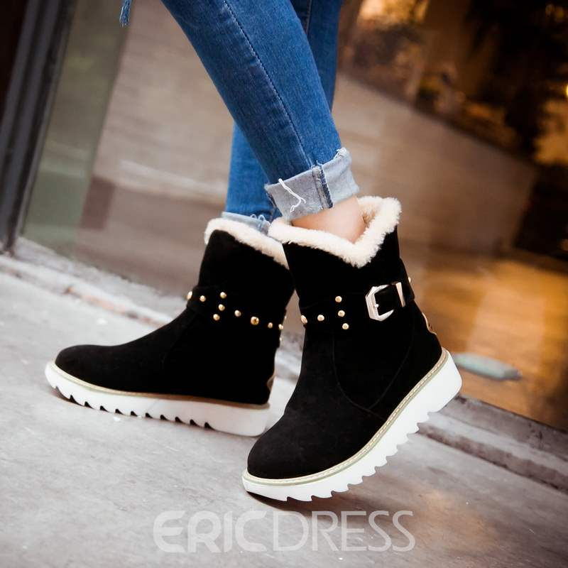 Ericdress All-matched Rivets Decoration Snow Boots