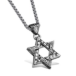 Hollow-out Star Pendant Mens Necklace
