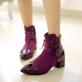 Ericdress Point Toe Patchwork Ankle Boots