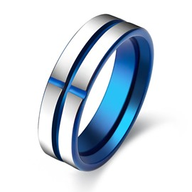 Cross Pattern Decorated Men's Tungsten Ring