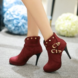Ericdress Solid Color High Heel Boots