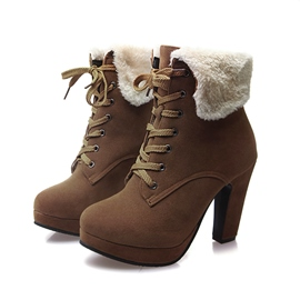 Ericdress All-matched Furry Lac-up High Heel Boots