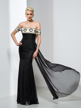 Ericdress Off-The-Shoulder Bowknot Beading Evening Dress