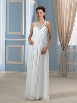 Ericdress Pretty V Neck Beading Chiffon Maternity Wedding Dress