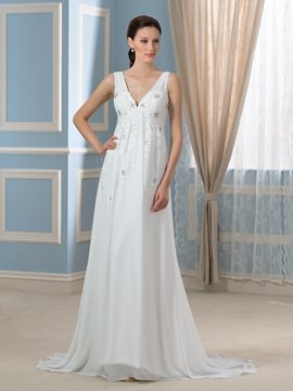 Ericdress Charming V Neck Beading A line Sweep Train Wedding Dress