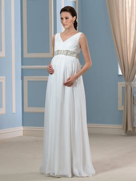 Ericdress Beading V Neck Maternity Wedding Dress