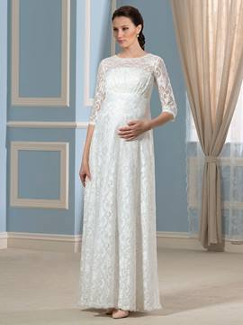 Ericdress Charming Half Sleeves Lace Maternity Wedding Dress
