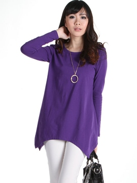 Ericdress Plain Asymmetric Casual T-Shirt