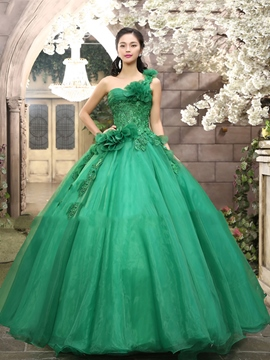 Ericdress One-Shoulder Appliques Flowers Quinceanera Dress