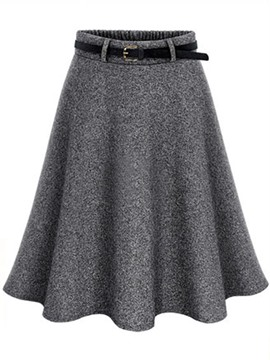 Ericdress Wool Blends Belt Usual Skirt