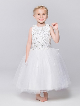 Ericdress Cute Jewel Beaded Ball Gown Flower Girl Dress