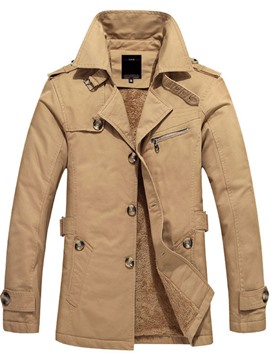 Ericdress Plain Flocking Slim Single-Breasted Winter Men's Jacket