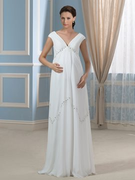 Ericdress Beautiful V Neck Beading Empire Chiffon Maternity Wedding Dress