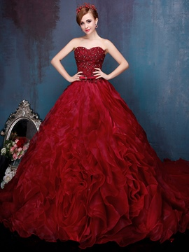 Ericdress Sweetheart Neckline Ball Gown Appliques Beading Quinceanera Dress