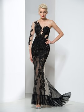 Ericdress One Shoulder Appliques Sheath Evening Dress