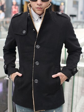 Ericdress Plain Flocking Stand Collar Warm Slim Men's Woolen Coat