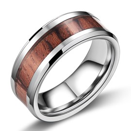 Chic Wood Decorated Men's Ring