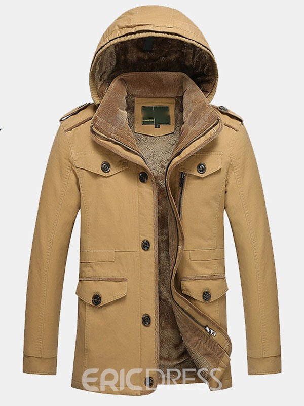 Ericdress Solid Color Flocking Warm Long Winter Mens Jacket