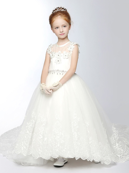 Ericdress Beading 3D Floral Appliques Flower Girl Dress
