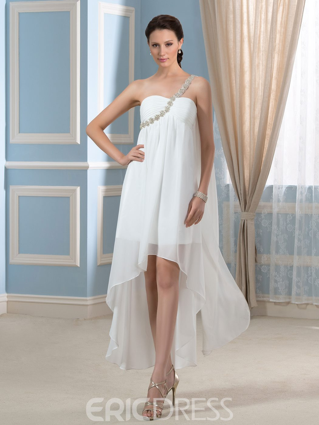 Ericdress One Shoulder High Low Wedding Dress 11508098 - Ericdress.com