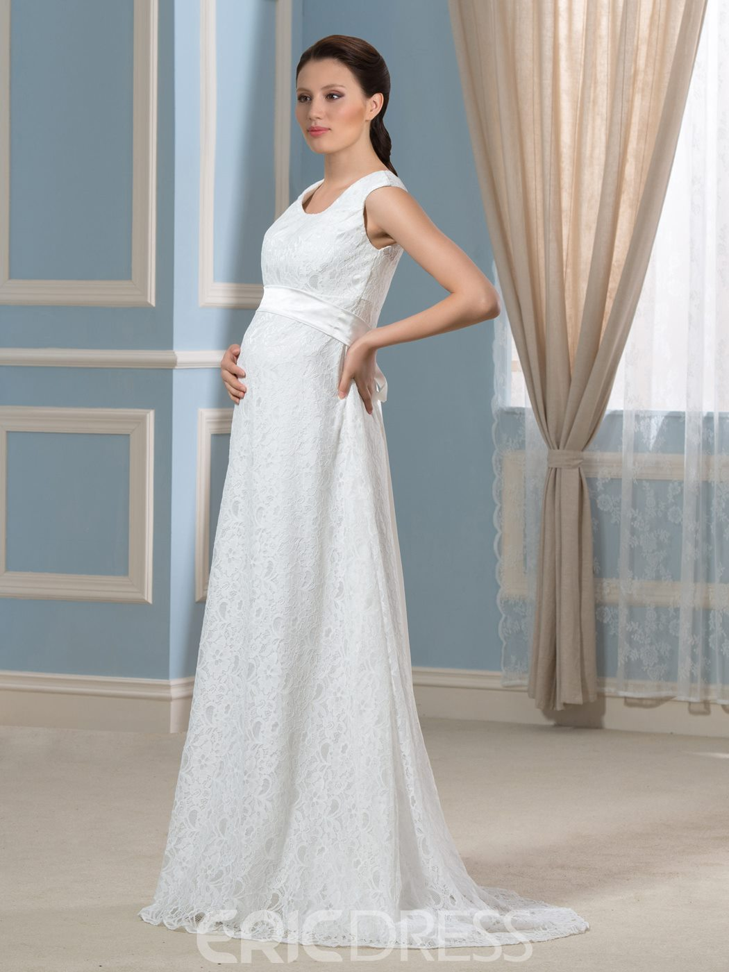 Ericdress Sashes Lace Maternity Wedding Dress