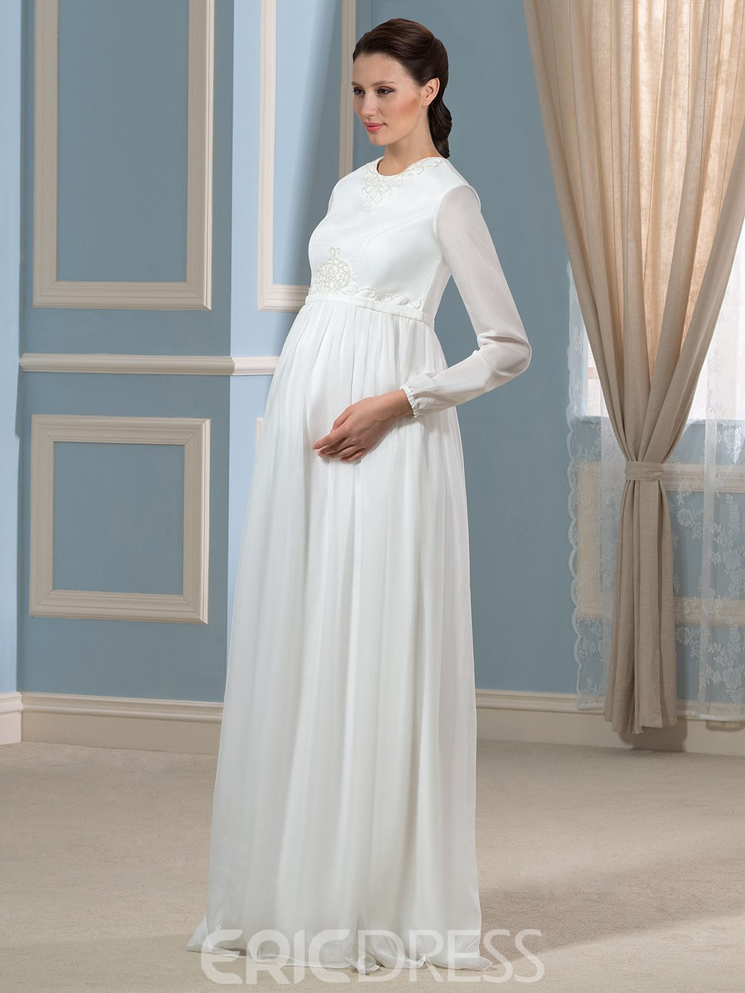 maternity wedding dress with sleeves ericdress beautiful sleeves maternity wedding 5755