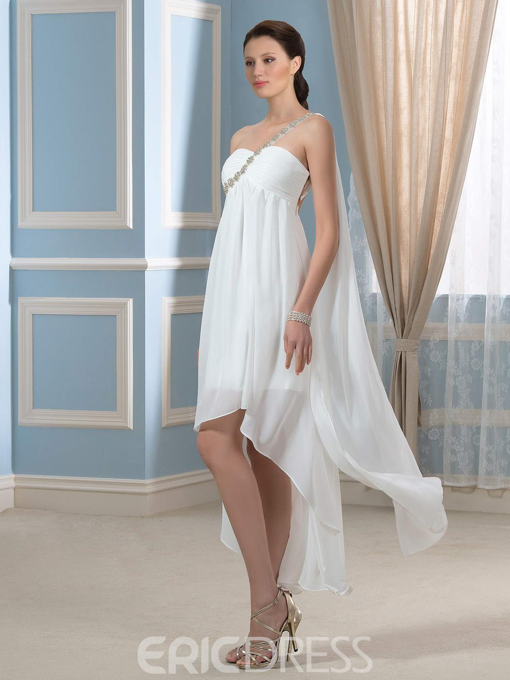 Ericdress One Shoulder High Low Wedding Dress