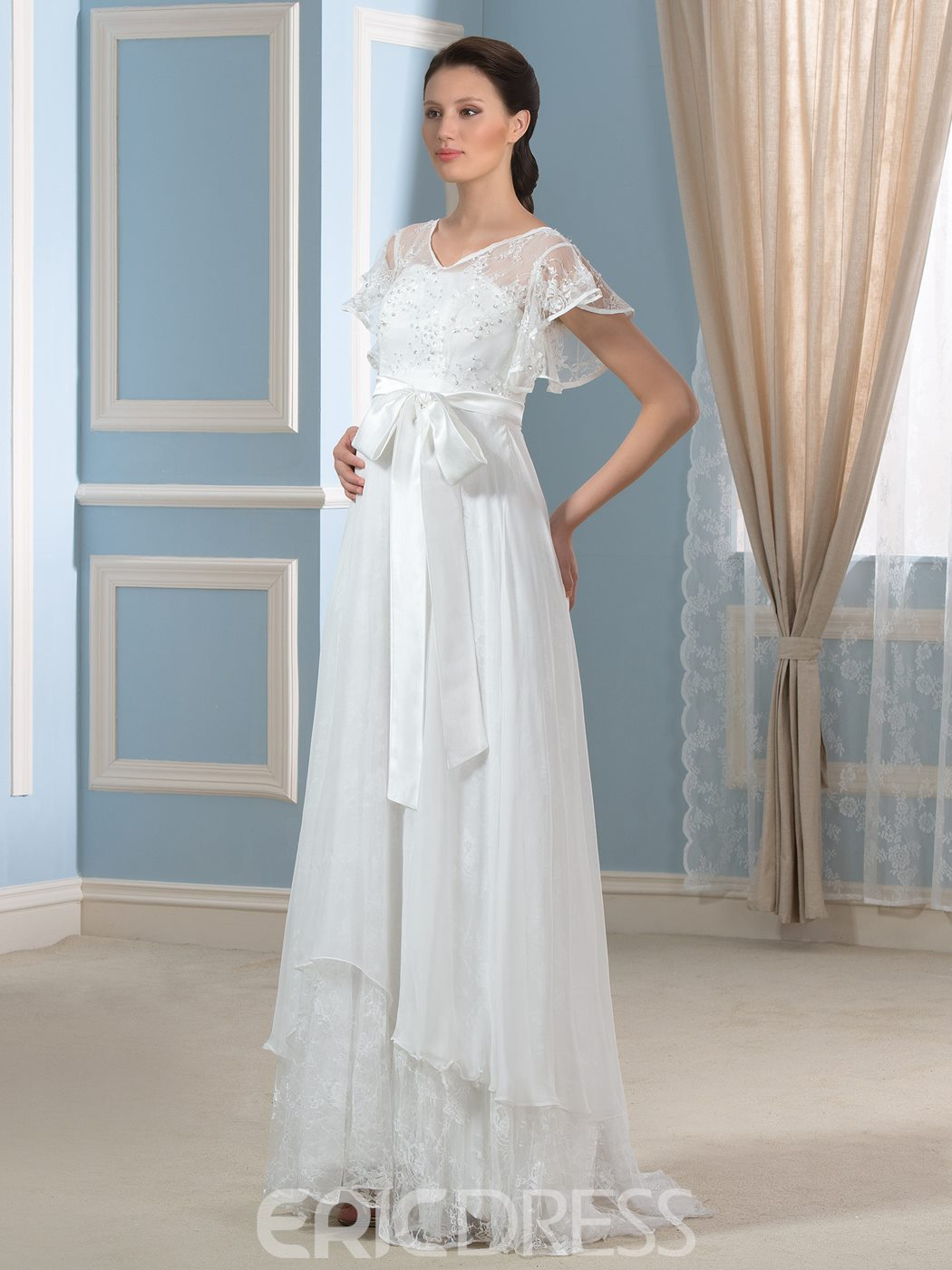 Ericdress Charming V Neck Short Sleeves Lace Maternity Wedding Dress