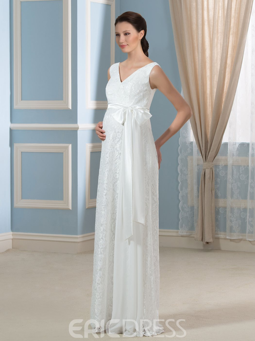 Ericdress Comfortable V Neck Lace Maternity Wedding Dress