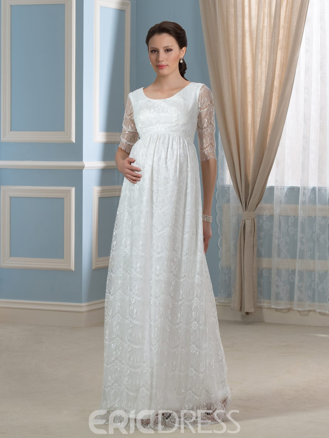 Ericdress Pretty Scoop Half Sleeves Lace Maternity Wedding Dress ...