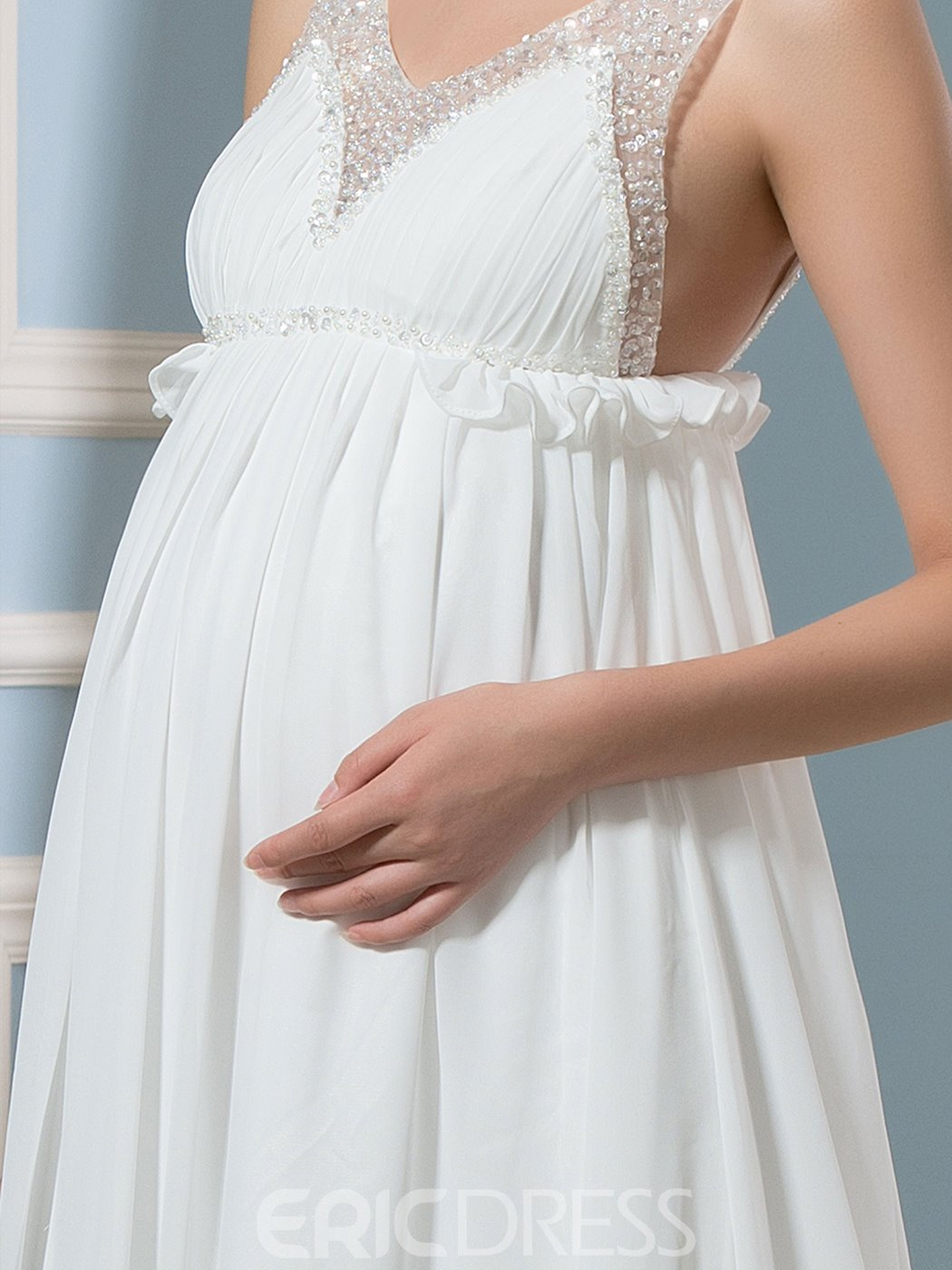 Ericdress Charming Beading A Line Maternity Wedding Dress