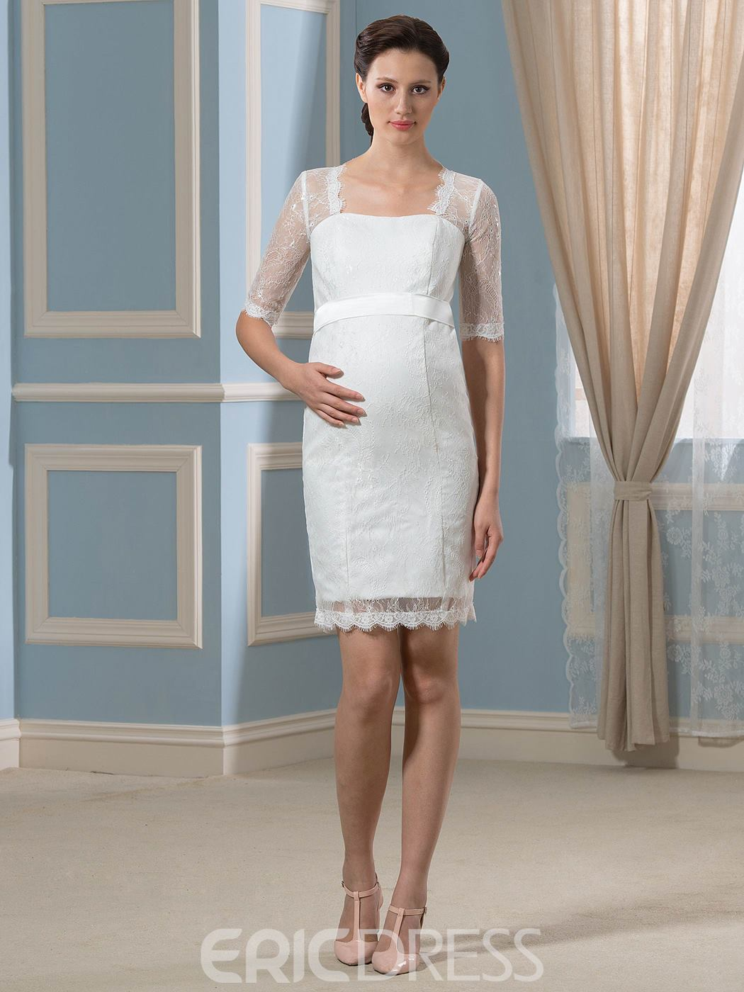 Ericdress Pretty Square Neckline Half Sleeves Lace Short Maternity Wedding Dress