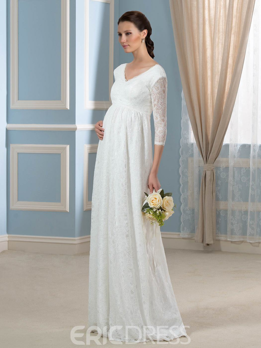 Ericdress Half Sleeves Lace Maternity Wedding Dress