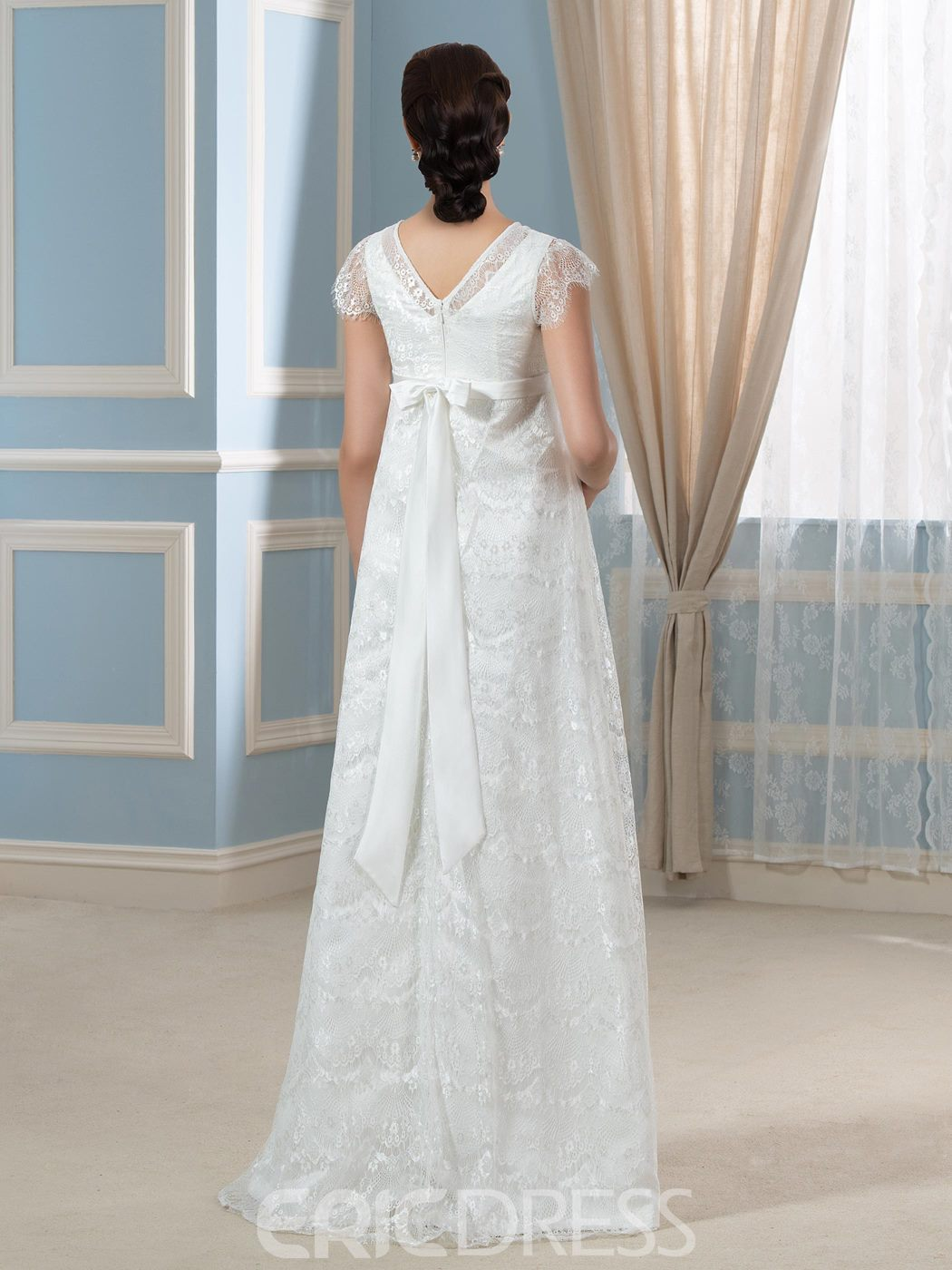 Ericdress Elegant V necl A line Lace Maternity Wedding Dress