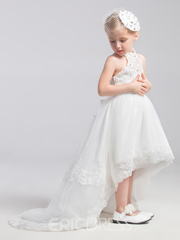 a5d46cd60c7 Ericdress Beautiful Halter Asymmetry Flower Girl Dress 12212425 ...
