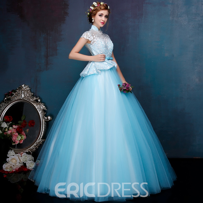Ericdress High Neck Cap Sleeve Ball Gown Lace Beading Quinceanera Dress