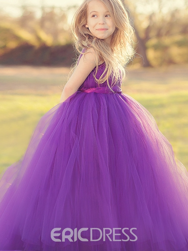 Ericdress Beautiful Staps Ball Gown Tulle Flower Girl Party Dress