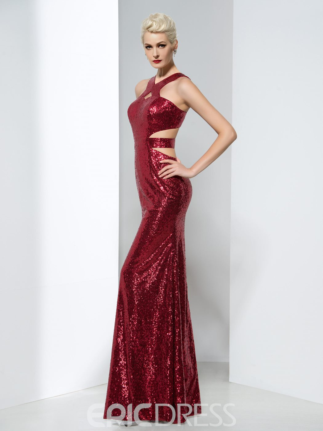 Ericdress Sheath Sequins Hollow Floor-Length Evening Dress