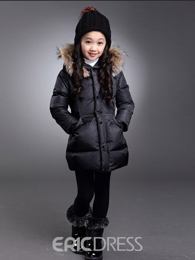Ericdress Plain Hooded Thick Girls Coat
