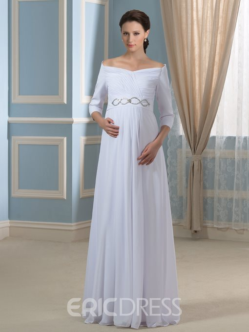 Ericdress Pretty Off the Shoulder Maternity Wedding Dress with Sleeves