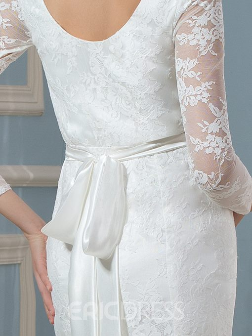 Ericdress Beautiful Bateau 3/4 Length Sleeves Mermaid Lace Maternity Wedding Dress