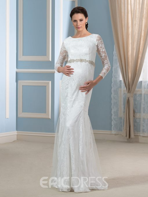 Ericdress 3/4 Length Sleeves Mermaid Lace Maternity Wedding Dress